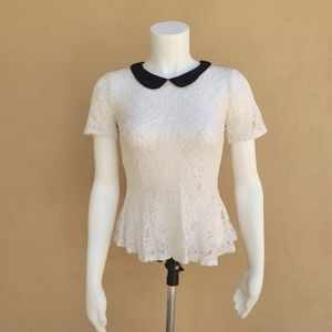 Divided Sheer Lace Peplum Goth Punk Top 10 M